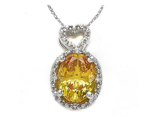 Zoe R(tm) Fancy Yellow CZ Pendant with Diamonds in 10 kt White Gold Zoe R. $109.99. Save 48% Off!