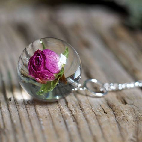 Rose Resin Necklace Rose Pendant Rose Jewelry Resin
