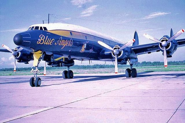 """Blue Angels"" Lockheed C-121J circa 1969/1970.  This aeroplane has the same elegance of stance as the B757. Lovely. lsp"