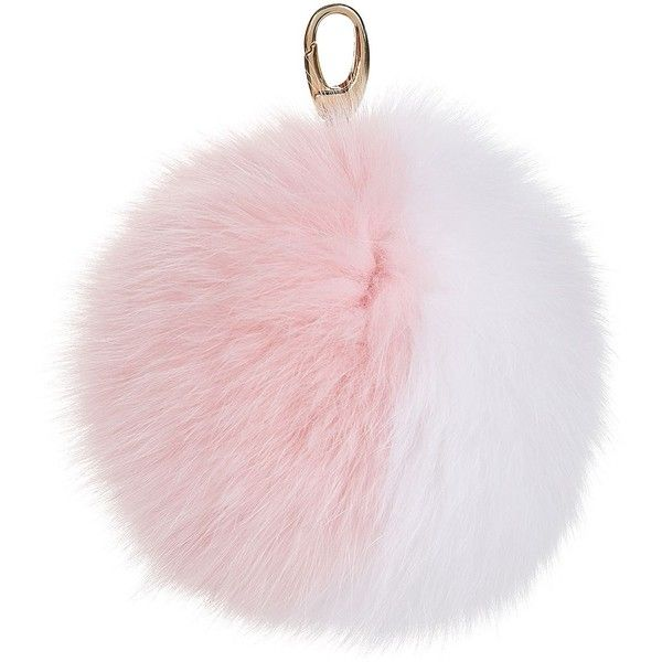 Harrods of London Two-Tone Fox Fur Pom Pom Keyring ($84) ❤ liked on Polyvore featuring accessories and pom pom key ring