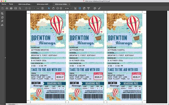 Hot Air Balloon Party TICKET Invitation  Aviator Birthday