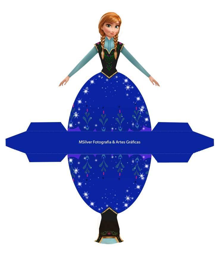 Lindas caixinhas vestido do Filme Frozen da Elza e da Anna para você decorar sua festa com o tema ou usar como lembrancinha!