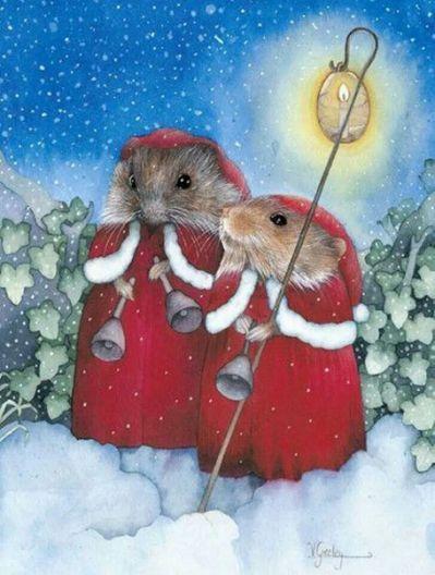 Weihnachtsbilder Gemalt.Susan Wheeler Hasen Mäuse Igelfamilie Gemalt Weihnachtsbilder