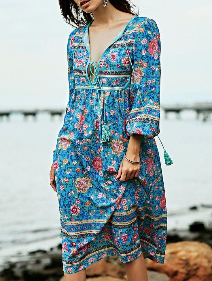 Pretty Blue Floral Bohemian Style Empire Waist Long Sleeve Women's Midi Dress #Bohemian #Style #Blue #Floral #Print #Dress #Fashion