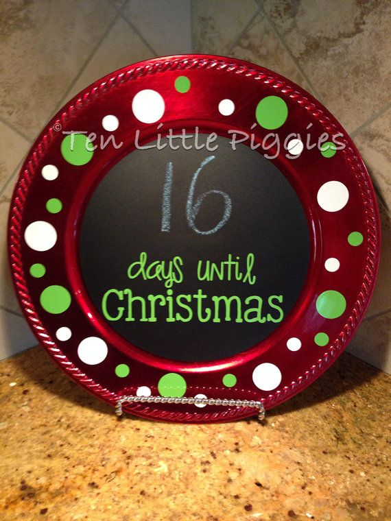 Chalkboard Christmas Countdown Charger Plate by TenLittlePiggies