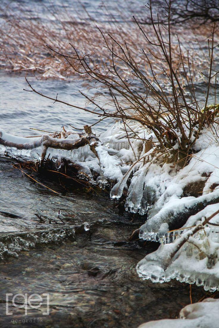 Ice taps in the waterside - a winterwalk in Denmark - Photograph by Qe-grafik
