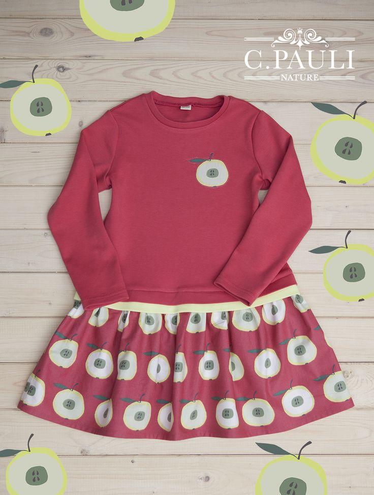 Herbstliches Mädchenkleid mit Apfelapplikation | C.Pauli Nature Blog