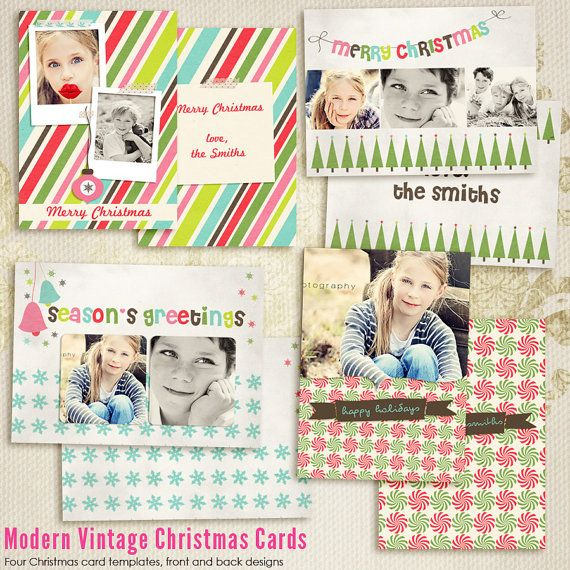 Modern vintage christmas card templates for photographers