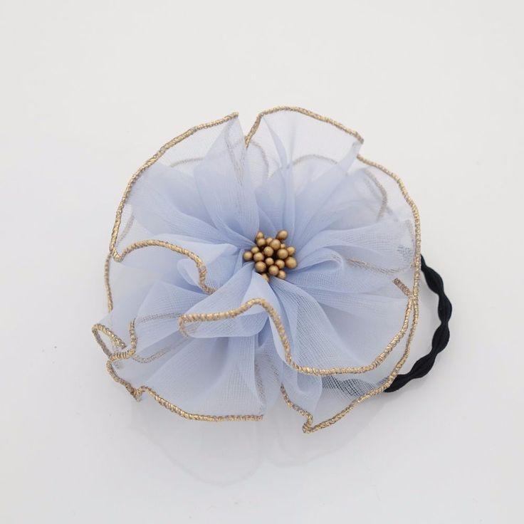 Handmade Tiny Mesh Petal Beaded Pistil Flower Hair Elastic Ponytail Holder  #VeryShine #PonytailHolders #Casual
