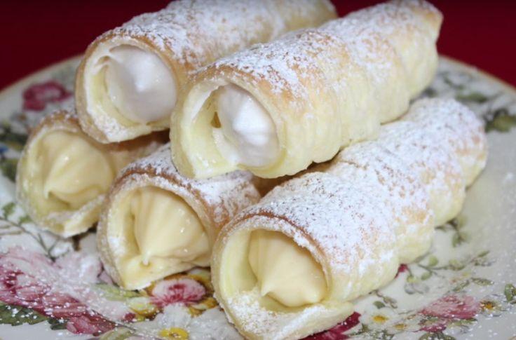 Kremrole jako z cukrárny. Plněné bílkovou pěnou a žloutkovým krémem s mascarpone.