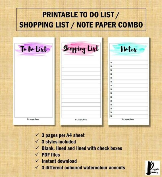 Printable Watercolour To Do List, Shopping List and Note Paper Combo. Get organised using this beautiful and stylish to do list, shopping list and note paper combo. Easily organise your tasks and get them down on paper and out of your head. Perfect as part of your planner or on its own.  This to do list, shopping list and note-paper combo comes with three PDF files: 1. To do list paper, three pages per A4 sheet 2. Shopping list paper, three pages per A4 sheet 3. Note paper, three pages per…