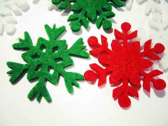Thick Felt x18 Mixed SNOWFLAKES Die Cuts  Winter by MadeByOzras, $4.00