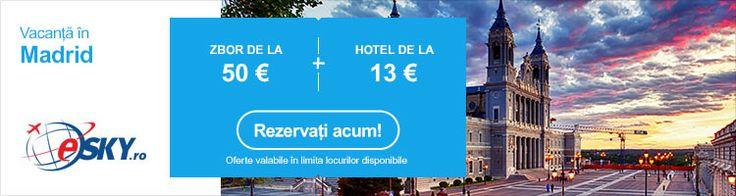 Oferta ieftina de vacanta in Madrid la eSKY.ro. Bilete de avion de la 50€ si Hoteluri de la 13 €/noapte. eSKY.ro – Comunitatea online a calatorilor inteligenti! Rezervaţi un bilet de avion înainte ca preţurile să crească! Verificaţi promoţiile.
