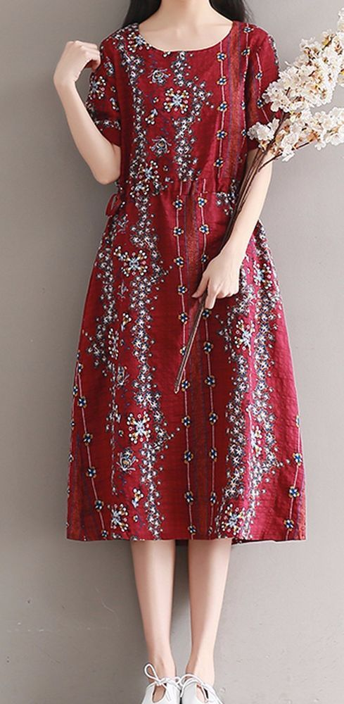 Women loose fit over plus size flax linen dress red flower Bohemian skirt casual #Unbranded #dress #Casual