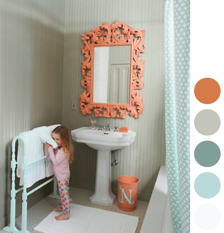 Coral Bathroom Mirror; Cute Color Combo