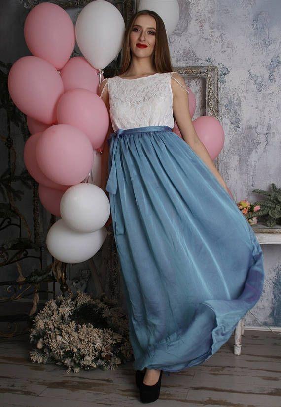 Blue skirt chiffon skirt full length skirt bridesmaid