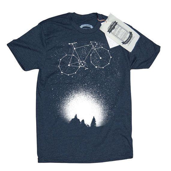 Bicycle T-Shirt. Bike Shirt. Bike in the Night Sky Men's T-Shirt- Fixie Bike Shirt in Sizes Small to XXXL