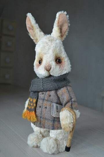 "Artist teddy stile rabbit ""Winter beige' By Oksana Antonenko - Bear Pile"
