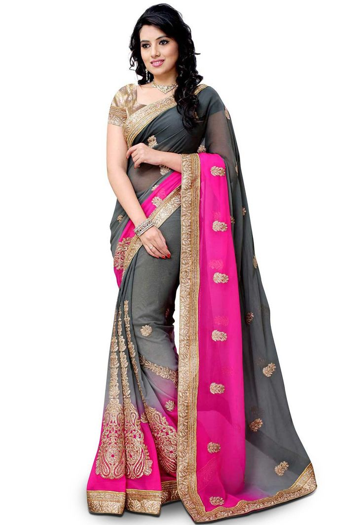 Embroidered Georgette Saree in Ombre Grey and Fuchsia