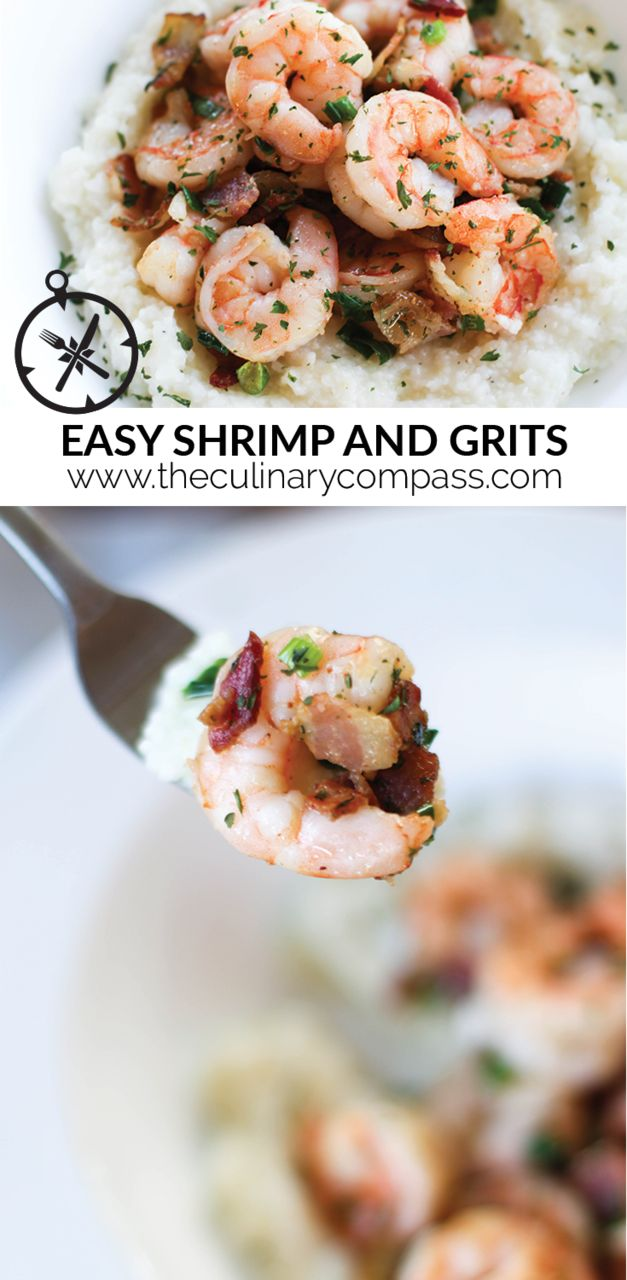 This Shrimp and Grits recipe is so easy and delicious! Plus there's bacon so you know it's good.