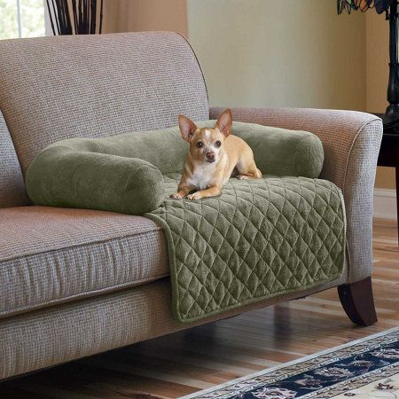 Plush Pet Cover With Bolster Helps Keep Pet Hair Off Your Sofa. This Pet  Cover