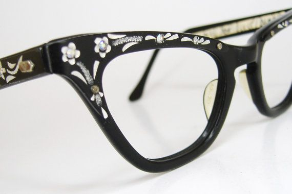 Vintage 50s Black Cat Eye Eyeglasses Frame With Flowers and Rhinestones Never Worn