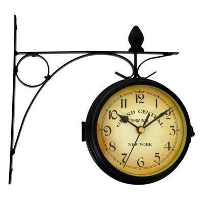 Relógio De Parede Dupla Face Estação De Trem Vintage Retrô - R$ 89,99