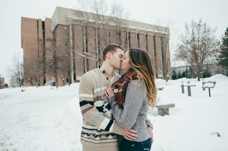 Recent chem sci grads Thomas Augustyn and Rebecca Gerovac return to campus for their engagement photos. #HuskyHearts