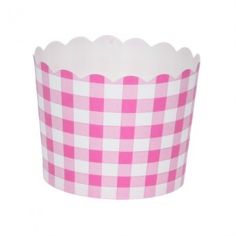 Bright Pink Gingham Paper Baking Cups (set of 25)
