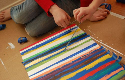 Easy Kindergarten Art Projects | Preschoolers Painting Stripes with Painters tape