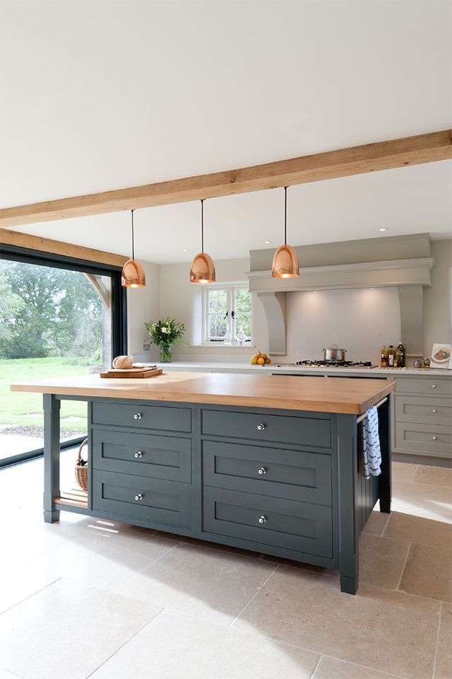 modern kitchen with light gray perimeter cabinets and dark gray island with butcher block countertop
