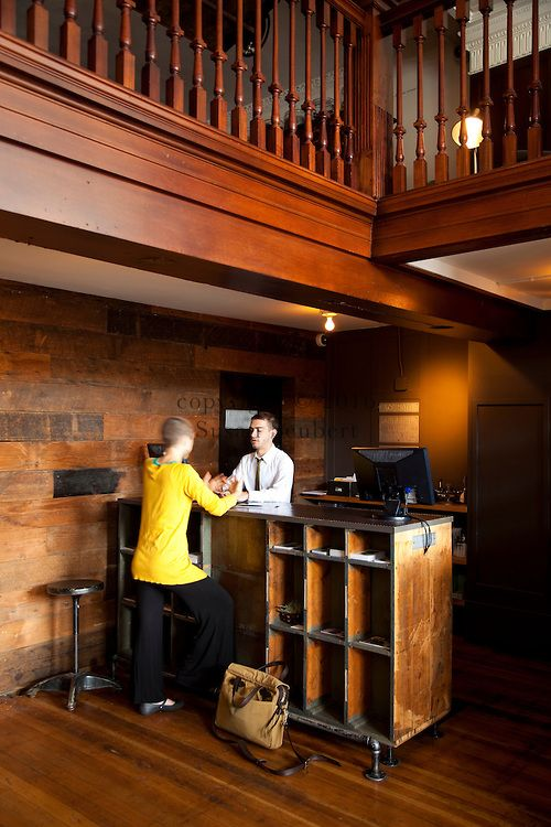 The front check-in desk at The Ace Hotel in downtown Portland, a hip budget…