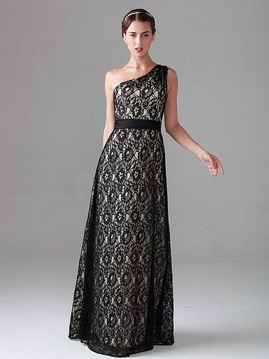Pin to Win a Wedding Gown or 5 Bridesmaid Dresses! Simply pin your favorite dresses on www.forherandforhim.com to join the contest! | Two-tone Effect One-shouder Lace Dress $249.99