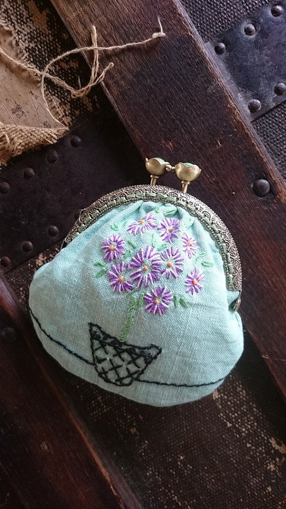 Vintage Coin Purse, UpCycled/Repurposed Vintage Embroidery, Purple Flowers in Pot, Mother's Day Gift