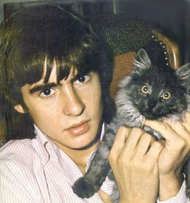 The late Davey Jones from the Monkees and his cat Tibsey