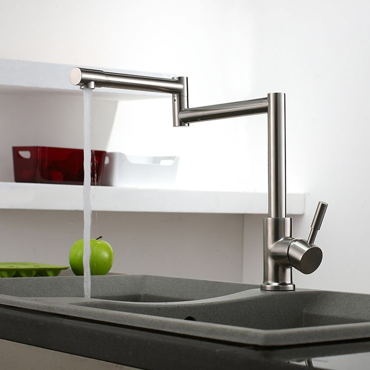 Bring a cool, new design to your kitchen with this brushed nickel pot filler kitchen mixer tap.