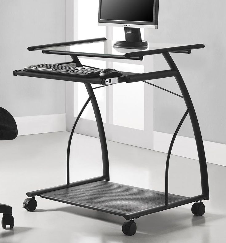 Altra Sheldon Mobile Computer Desk, Black. Mix modern and industrial styles together with the Altra Sheldon Mobile Computer Desk. Use this Computer Desk anywhere in your home for a convenient work space. Small footprint makes this piece great for an apartment or dorm room. The top glass surface holds your computer monitor or your laptop. Keyboard tray slides in and out so you can type comfortably.