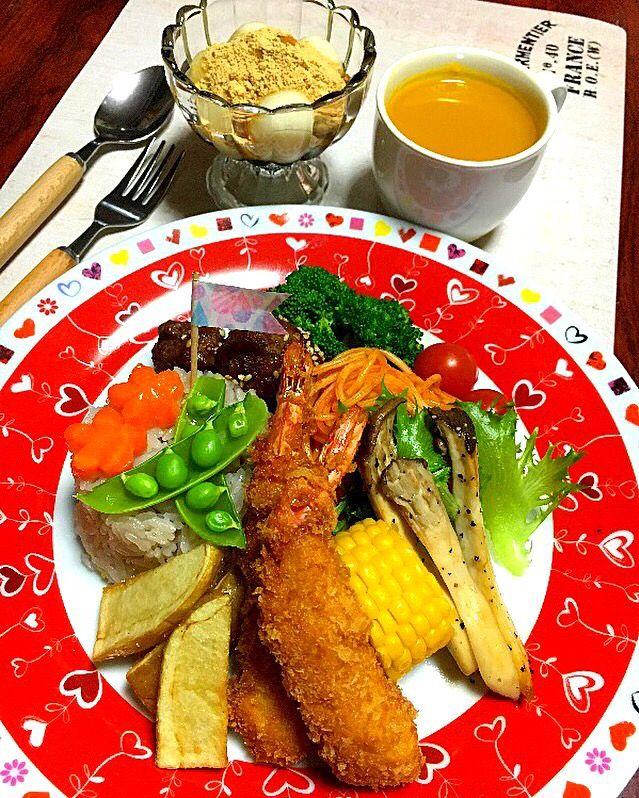 みお's dish photo お子様ランチ | http://snapdish.co #SnapDish #白玉の日(8月8日) #和菓子 #スパゲティ #野菜スープ #こどもが大好きな料理