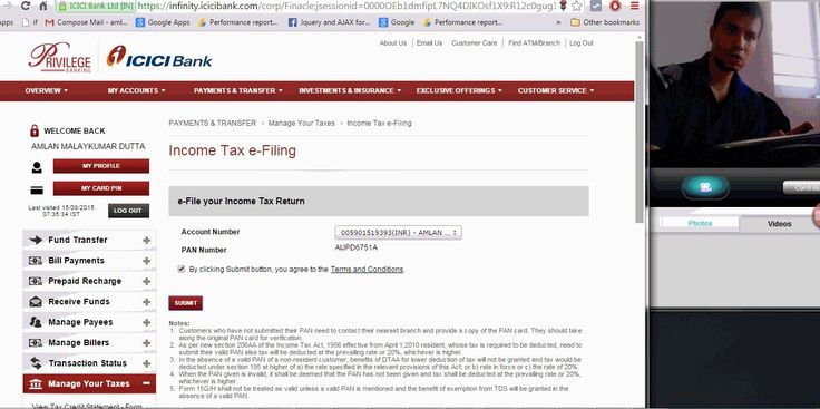 How to login in E filing  website using  Netbanking Login (ICICI bank)