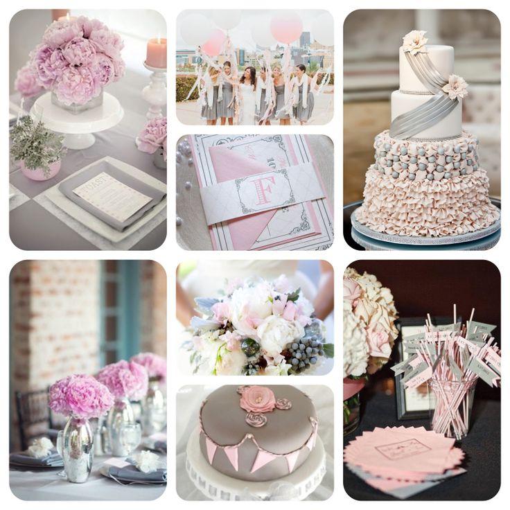 Pink and Grey wedding colour scheme