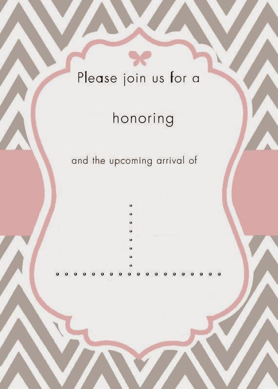 I Do On A Dime: Free Template for Pink and Grey Cheveron Baby Shower invite