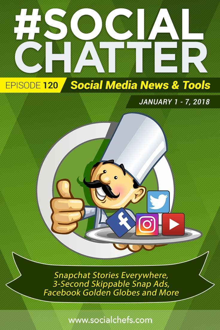 On this episode of Social Chatter, your social media marketing talk show, learn about Snapchat Stories Everywhere, 3 second skippable Snap Ads, Facebook live streaming at the Golden Globes, Recite This, Swipe File and more with guest, Rachel Moore.