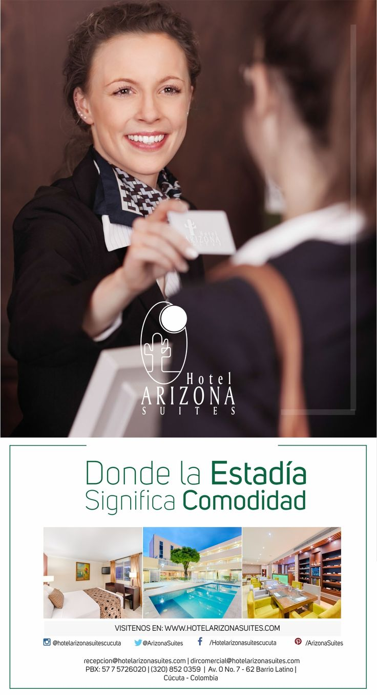 En Hotel Arizona Suites Cúcuta, tus viajes de trabajo se convierten en un momento de relajación. Con 70 habitaciones dotadas con todo lo necesario para un total descanso, una moderna sala de negocios que te garantiza un agradable ambiente para trabajar y un Spa para que empieces o termines el día con la mejor energía. Conócenos en www.hotelarizonasuites.com o llámanos al 5726020 #Cucuta #HotelesCucuta #Colombia #Viajesdenegocios #Empresas #TarifasCorporativas