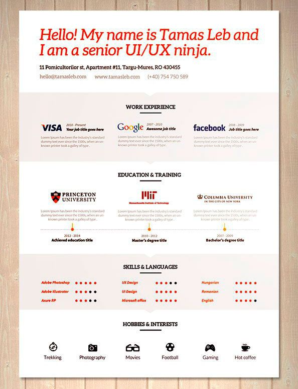 23 best Resume Designs images on Pinterest Resume design, Design - hobbies in resume