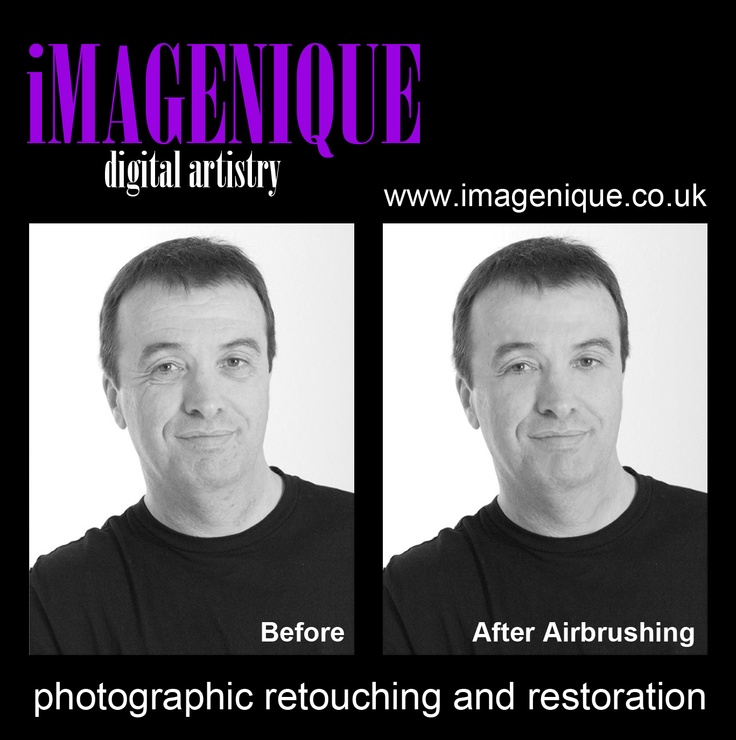 """BOYS!"".........Airbrushing is not just for women! You can get yourself retouched too! ;-)  In this example: BASIC AIRBRUSH - Subtle enhancements, totally natural! Your minor blemishes and wrinkles removed! For BASIC Airbrushing £5.00."