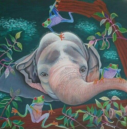 Baby Elephant  Acrylic on canvas  60x60 cm