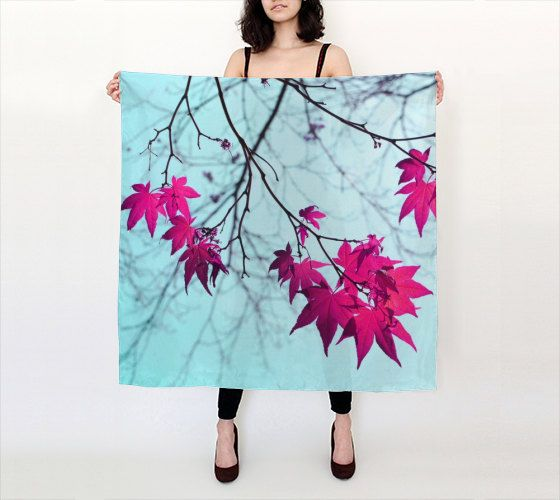 Maple tree leaves photo scarf aqua magenta Summer by OurArtCloset