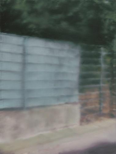 """Gerhard Richter (Dresda 1932) """"Fence"""" 2008 (35,5x27 olio su foglio di alluminio)"""