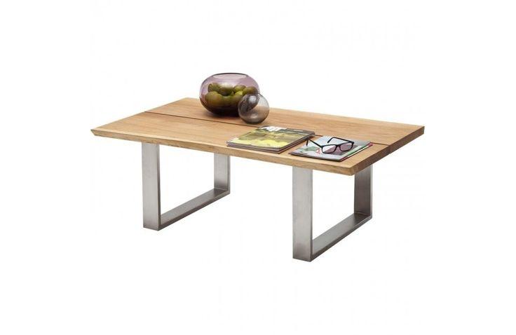Table de salon en chêne et inox - Mobilier de salon contemporain - Meuble et Canape.com