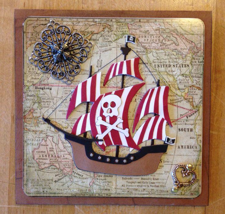 Handmade card, Birthday Pirate Ship